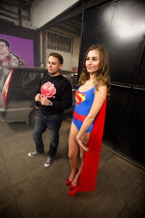 Backstage со съёмки про Batman & Superman.